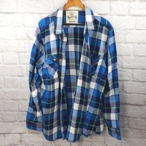 Roebuck &Co men's Blue Plaid Flannel XXL